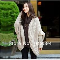 7 colors 2014 new fashion women Poncho Tunic batwing knitted jacket lady/female spring black pink blazer/coat irregular Novelty