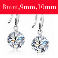 Wholesale (30 pairs/lot) AAA crystal earrings 925 string silver CZ drop earrings Free Shiping