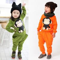 2014 Wholesale 5pcs/lot 2014 autumn and winter monkey boys clothing girls clothing child fleece sweatshirt trousers set BGT-294