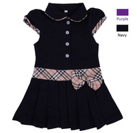 Brand New Classic 100% Cotton Children Girl Dress Plaid Bowknot & Peter Pan Tennis Dress Collar Children Clothing Kids Apparel