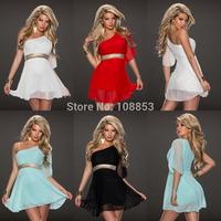 New Women's Summer Dresses One Shoulder Chiffon Sleeveless Casual Tunic Mini Dress Sundress Sequined Dress Plus Size M L P0961