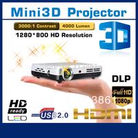 3D film HDMI 4000Lumens wide screen full HD DLP Projector Video 3D Projektor/projetor/proyector/projecteur wholesale price