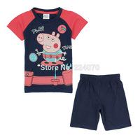Free shipping cute peppa pig children kids boys clothing sets t shirt+dress clothing sets for 2-6Year children boys clothing set