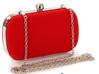 Female Corduroy Evening Bag Candy Color Day Cluthes Hot Handbag with Alloy shoulder Chain Hard Box Purse for Party 5Color  NO926