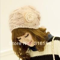 Women Knit Crochet Braided Beanie Hat floral pearl fur Ski Ball Wool Baggy Cap Winter Warm free shipping