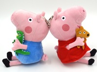 free shipping hot selles peppa pig family toys with teddy bear george pig plush toys for kids birthday chidren chrisstmas gifts