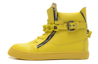 Drop Shipping New Design Yellow Leather With Big Chains High Top Winter GZ Sneakers For Men&Women,2013 Double Zip Buckle Loafers