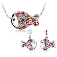 Popular accessories crystal necklace earrings rich fish set crystal set