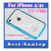 """NEW""  Hi-Q TPU case transparent PMMA case cover for iphone 4/4S"
