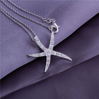 50pcs stering silver plated pendant for necklace WITHOUT CHAIN 925 stamped Starfish with crystal for necklace P030 free shipping