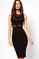 2013 new sexy dress shirt nightclub hollow mesh haltergirl bodycon  dresses waist stitching Slim package hip dress