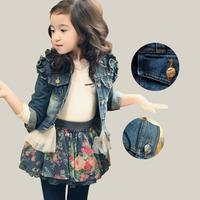 Kid Girls Fashion Autumn Winter Denim Lace Trim Clothes Pocket Denim Long Sleeve  Outerwear Jacket Jeans Coat