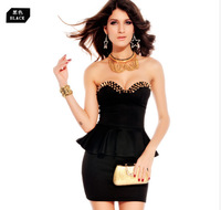 decorated rivet 2013 new fashion punk Bra Bra V-neck dress sexy dress