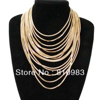 Fashion Bohemia Gold Multi-layer Chain Party Wholesale High Quality Chunky Necklace Jewelry