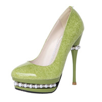 New sale 2014 women's pumps 14cm ultra high heels platform Shiny Leather party Wedding shoes Pearl pumps Shoes