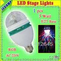 3w E27 RGB  led full color rotating lamp party home decoration stage light bulb Lampada De Led Colorido Rotativo AC 220V 230V