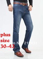 Free shipping Large size jeans for men plus size straight loose Dark Blue denim trousers Big jeans men High quality Size 30-42