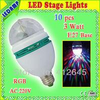 10 pcs/lot E27 3W RGB Mini LED Full Color Rotating Lamp for Disco DJ Party decoration ac 220v 230v 240v