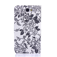 2014 New Coming! Classical Bloom Flower Pattern Wallet Style Leather Case with Card Slots for Samsung Galaxy Note 2 II N7100