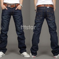 Korea Men's Slim Fit Classic Jeans Trousers Straight Leg Blue Size 30~40 Button New #SV3563