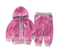 fashion cute Flouncing hello kitty children clothing set shirt +pants children kids suit GCT-303