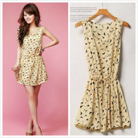 2014 Summer Dresses New Korean Women's Bird Animal Print O Neck Casual Sleeveless Chiffon Dress Mini Vestido De Festa 4557