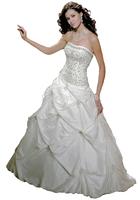 Wholesale Cheap Price Latest Strapless White Ivory Chapel Train Taffeta Bridal Wedding Gown 2014 Stock Size 2 4 6 8 10 12 14 16