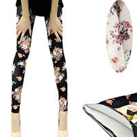 Fashion Womens Lady Slim Sexy Cotton Floral Print Leggings Pants