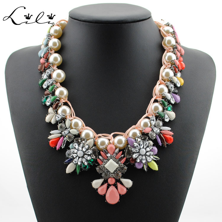 New 2014 Shourouk Luxury Brand Color Bead Crystal Flower Bubble Necklace Exo Statement Pearl Bib Long Design Body Collar Jewelry(China (Mainland))
