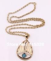 Free Shipping 1pcs/Lot Luxury Gold Set Auger Big Evil Eye Good Luck Pendant Bib Choker Necklace 2013281497