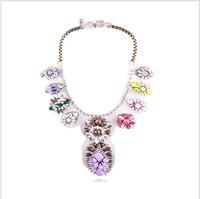 New 2014 chunky shourouk PVC Choker statement necklaces fashion flower pendant Necklace 2014 women Luxury gift Wholesale