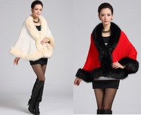 New 2014 winter Women sexy faux fur coat casual fashion elegant Plus size Thicken  poncho cape jacket