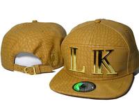 2014 New Arrival Hip Hop Last Kings gold brown LK Snapback Hats Unisex men leather Strapback Cap Snap back Baseball Caps