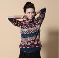 100% wool  Fashion winter warm long sleeve wool knitted patchwork turtlenecks sweater female stripe cashmere sweater women