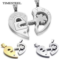TSN075068/09 Fashion Couple Heart Necklaces Classic Key Lock Design Wholesale 316L Stainless Steel Couple Jewelry