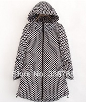 Down coat medium-long 2013 winter women's casual polka dot with a hood thickening down coat outerwear