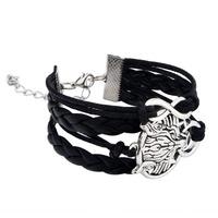 Fashion Jewelry pulseras bracelet men Leather Cute Charm Retro bracelet Style wolf head black 62805