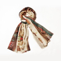 Details about New Women Cotton Horse Wheel Carriage Design Lady Rectangle Scarf Shawl