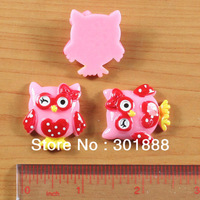 FEDEX Free,Wholesale 1000pcs/LOT,Valentine's Day Pink Owl Red Heart Resin Cabochon Flatbacks Scrapbooking Hair Bow Center,YCB393