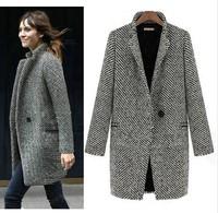 Free Shipping 2014 New Spring/Winter Trench Coat Women  Medium Long Plus Size Warm Wool Jacket European Fashion Overcoat LBR8119
