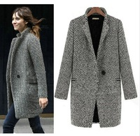 Free Shipping Newest  European Winter Trench Women Grey Medium Long Oversize Plus Size  Warm Wool Jacket Ladies Coat  LBR8119