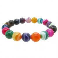 Fashion 10mm Colored Semi Precious Stone Beads Stand Bracelet for Women Handmade Jewelry Personalized Bracelets HC322