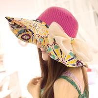 New women's summer linen hat large brimmed sun hat UV sun visor wholesale beach