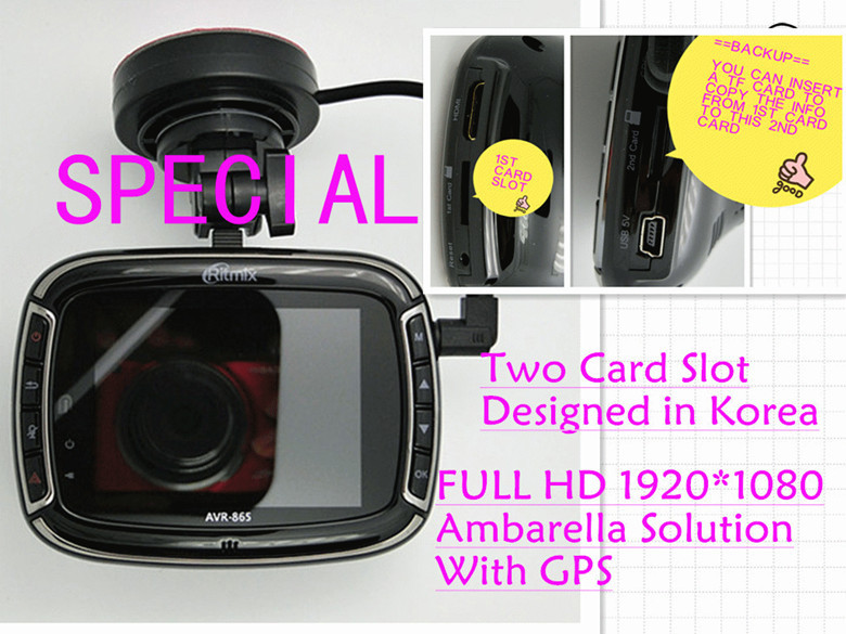 Car DVR,FULL HD 1920*1080P,HDMI,G-sensor,Ambarella,2.7''TFT LCD,private model,GPS,Night vision,designed in Korea,backup,5M COMS(China (Mainland))