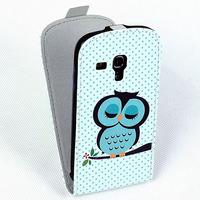 1 X New Flip  Animal Bird Owl Print Case View Auto Sleep Pu Leather Cover for Samsung GALAXY S3 Mini i8190 Case