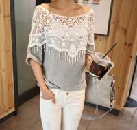 2013 sweet lace cutout shirt women handmade crochet cape collar batwing sleeve blouse medium-long t shirt female100-4
