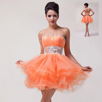 Fast Delivery! GK New Short Crystals Orange Prom Party Dress, Sexy WE4793