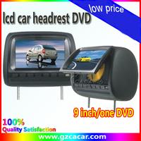 1 set 2pcs 9 inch 16:9 universal Car Headrest Monitor Player with USB SD one DVD and one AV Car Headrest dvd MP3 MP4 FM