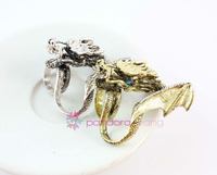 (Min order $10,Mix Order ) 2Pcs Vintage Style Rhinestone Animal Chinese Dragon 2 Fingers Double Rings