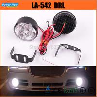 LA-542 New 12v/24v Auto Car 4W 4-LED *2 High Brightness Round Daytime Running Lights Car Front Fog Tail Lamp Car LED DRL